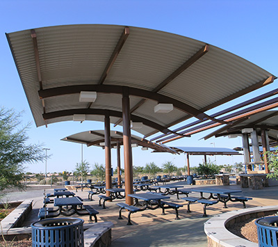 shade structure curved roof